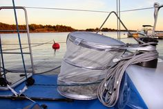 """Light weight collapsible basket for buoy rope from Ikea: """"Fyllen loundry basket"""" (photo from blog: Matkalla merenneidoksi)"""