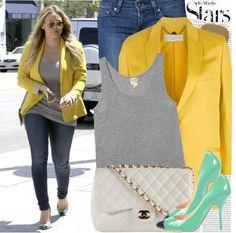 """976. Celebrity Style: Hilary Duff"" by nastyaafanasova ❤ liked on Polyvore"
