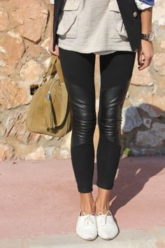 Black stretch leggings with veggie leather inlay at the knees with angled lines.. Get the supplies to make it: http://mjtrends.com/pins.php?name=black-stretch-veggie-leather-fabric_1
