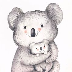 Mom and baby koala done with watercolours for an Australiana themed greeting cards ❤ #koala #koalababy #painting #instaart #watercolor #cuteanimals #forartsake #baby #australia #aussiemates #australiana #nature