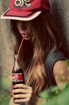 Girl · Fashion · No Saturation · Trends · Black & White · Photo · Art · Street · Hair · Model · Skinny · Cap · Coca Cola · Drink Georgia, Grunge, Atlanta, Cola Drinks, Always Coca Cola, Hip Hop Fashion, Women's Fashion, Girl Swag, Pin Up Girls