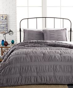 Ruched Stripes Gray 3 Piece Full/Queen Comforter Set