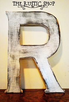 "Shabby Chic 18""  Rustic Wooden Large Letter R, Distressed Painted White. 18"" Tall Wood Name Letters, Baby Nursery Decor, Wedding Decor"