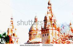 watercolor illustration barcelona national palace - stock photo