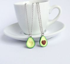 Green avocado bff friendship necklace pendant heart pit