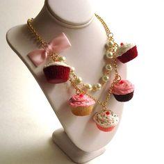Statement Necklace Pink Cupcake Necklace by FatallyFeminine
