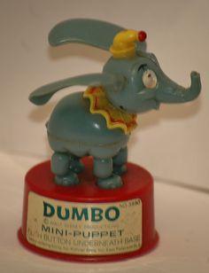 Vintage Walt Disney Kohner Bros DUMBO the Flying Elephant Mini Push Puppet