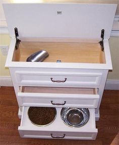 Pet Feeding Cabinet Food Is Easily Access And Scooped From Hinged Top