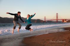 Beach wedding, Baker Beach, engagement photo by Ponce's Portraits, bride and Groom
