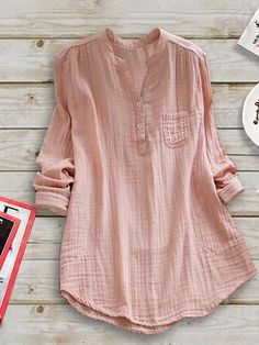 Casual Paneled Stand Collar Linen Plus Size Blouse – Moddream Plus Size Shirts, Plus Size Blouses, Outfit Chic, Looks Pinterest, Looks Plus Size, Casual Tops, Casual Pants, Types Of Sleeves, Blouse Designs