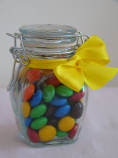 These lovely Jars with a bow and filled with lollie, look great at your kids birthday. $6 each NZ To check out more of my kids party range go to www.facebook.com/merrycherrycupcake  These look great with my rainbow party bags fillg with loot. These look lovely on the table or handed out as a gift.
