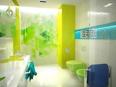Soczysta zieleń i dynamiczne kształty grafiki pobudzą do działania podczas porannej toalety.