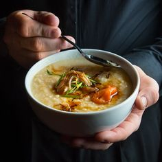 congee with pickled plums, fried shallots + chives // stomach-soothing and nourishing