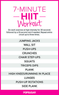 Seven minutes for a workout — who doesn't have time for that? That's why we've been loving this quick circuit workout! Learn how to do all the moves here, and get the printable poster of this seven-minute HIIT workout here.