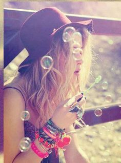 HIPPIE CHICK BLOWING BUBBLES #SouthBeachSwimsuits