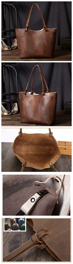 Vintage Genuine Leather Women Tote Bag, Shopping Bag, Shoulder Bag