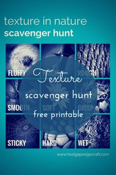 A scavenger hunt exploring texture in nature Texture in Nature Scavenger Hunt with Free Printable from Hodge Podge Craft Nature Activities, Outdoor Activities For Kids, Outdoor Learning, Summer Activities, Fun Learning, Learning Activities, Outdoor Play, Outdoor Games, Early Learning