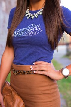 A Southern Drawl: Kentucky Bluegrass Tee! I love this outfit except for the leopard print belt.