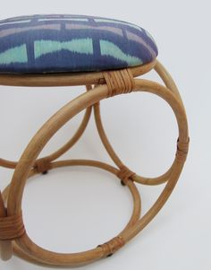 Ikat Dice Stool from MiITSEIN's first range, Freshly Squeezed. Up holstered with hand woven Ikat fabric from Takeo Cambodia