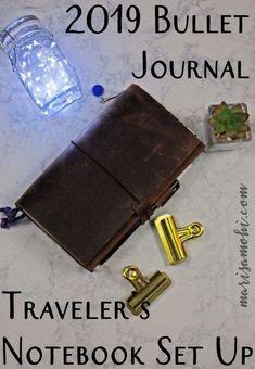 2019 Bullet Journal Traveler's Notebook Set Up Bullet Journal Notebook, Diy Notebook, Bullet Journals, Planner Stickers, Planner Tips, Travel Planner, Notebook Organization, Bullet Journal Inspiration, Journal Ideas