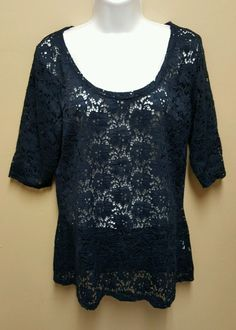 Maurices XL dark blue floral lacy sheer lace 3/4 sleeved top shirt blouse #Maurices #Blouse #Casual