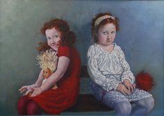 Myself and I = The Girls,  oil on canvas, 50x80, 2010, @DariaSolarArt witth Loving Vincent,  https://dariasolar.eu/ #children #portrait