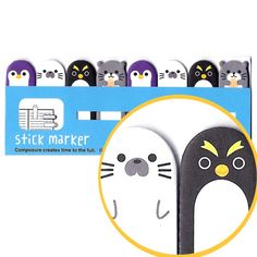 Penguin Shaped Animal Memo Post-it Index Tab Sticky Bookmarks