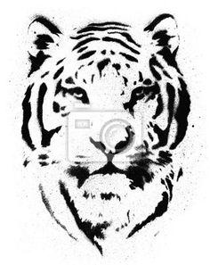 Sticker Tiger Stencil Vector