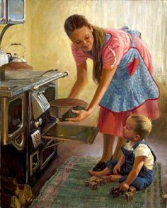 From Loren Entz American), Billings, Montana artist painting a quieter, more domestic side of rural Western life. Reminds me of Norman Rockwell. Norman Rockwell, Vintage Art, Vintage Photos, Vintage Ideas, Vintage Housewife, Illustration Art, Illustrations, Mother And Child, Mothers Love