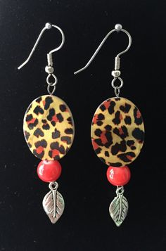 Animal Print and Red Bead Earrings with by MonicaWilgaDesigns
