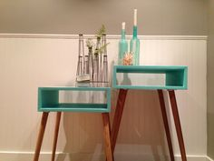 Hmmm...thoughts on a new side table. Mid Century Modern Side Table. $175.00, via Etsy.