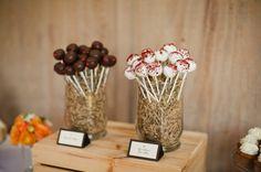 Wedding cake pop display.