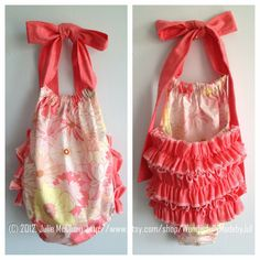 """Little Girl Ruffle Romper/Sun Suit in """"Coquette"""" fabric  by WonderfullyMadebyJul via Etsy."""