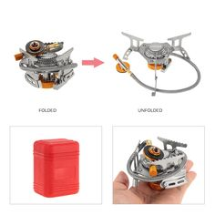 Boruit Mini Camping Stoves Folding Outdoor Gas Stove Portable Furnace Cooking Picnic Split Stoves Cooker Burners Great Varieties Camping & Hiking