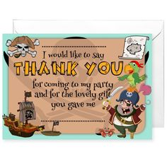 20 x Pirate Party Thank You Cards
