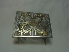 Vintage Miniature German Pewter Altar Book Stand House Altar #AS12