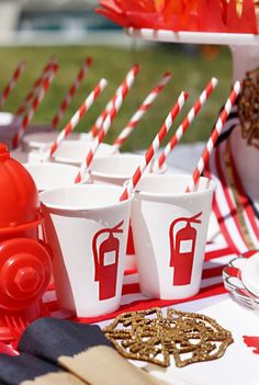 Fire extinguisher cups with red striped paper straws from a Fireman Birthday Party on Kara's Party Ideas | KarasPartyIdeas.com (19)