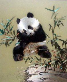 Panda, Chinese silk embroidery art painting, silk thread artwork, China Suzhou embroidery, Su Embroidery Studio
