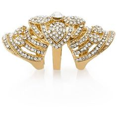 GUESS by Marciano Over-The-Knuckle Rhinestone Ring ($58) ❤ liked on Polyvore