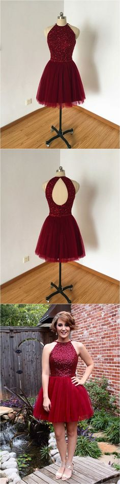 Burgundy tulle beaded bodice homecoming dresses,open back short prom dresses,2017 homecoming dresses