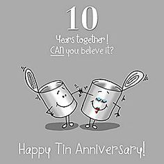 10th Wedding Anniversary Greetings Card - Tin Anniversary