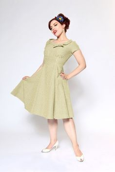 Beverly Dress  Olive Gingham