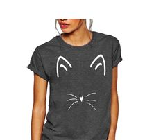 Queen Apparel - Cat Face Shirt - Cut Clothes, Feminist Shirt, Bridesmaid Shirts, Christian Shirts, Cat Face, Cat Shirts, Shirts For Girls, Decal, Cute Outfits