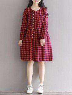 b95a25cf317c #AdoreWe #PopJulia - #PopJulia Red Casual Buttoned H-line Polyester Dress -