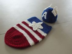 Captain America Newborn Cocoon bunting and by crochetherodesigns, $30.00
