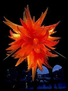 Dale Chihuly  - Chandelier - blown glass - orange