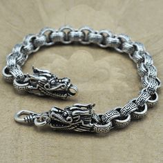 Sterling Silver Bold Rolo Chain Bracelet for Men