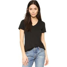 Cotton Citizen The Mykonos V Neck Tee ($81) ❤ liked on Polyvore featuring tops, t-shirts, jet black, v neck t shirts, curved hem tee, vneck t shirts, short sleeve t shirt and jersey top
