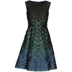 Alberta Ferretti Knee-length Dress (€850) ❤ liked on Polyvore featuring dresses, deep jade, no sleeve dress, alberta ferretti, pocket dress, knee high dresses and jacquard dress