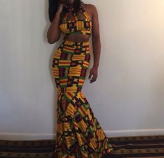 dress two-piece crop tops mermaid prom dress tribal pattern african print pattern outfit bralette high waisted high waisted skirt maxi dress african american African Prom Dresses, African Dresses For Women, African Attire, African Wear, African Fashion Dresses, African Women, Ghanaian Fashion, Ankara Fashion, African Style